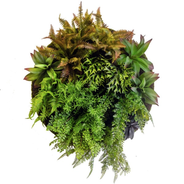 Artificial ferns on moss